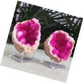 Pink Geode Pair W/Stands Crystal Quartz Gemstone Specimen