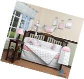 Pink & Gray Chevron Baby Girl Nursery CRIB BEDDING SET 14PCS