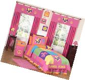 Pink Groovy Peace Sign Kids Twin Size Bed Bedding Comforter