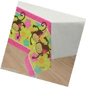 PINK MOD MONKEY LOVE PAPER TABLE COVER ~ Birthday Party