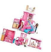 Barbie Pop-Up Camper Pink Van Doll Dream House Playset Girls