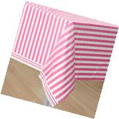 PINK AND WHITE STRIPES PLASTIC TABLE COVER ~ Baby Shower
