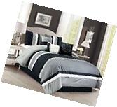 7-Piece Pinsonic Quilted Quatrefoil Pleated Stripe Comforter