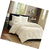 Pintuck Bedding Comforter White Mini Set Contemporary Design
