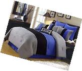 8pc Pintuck Pleated Stripe Gray, Blue, Black Comforter Set,
