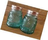 Pioneer Woman Adeline Teal Shaker Pressed Glass Turquoise