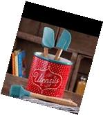 Pioneer Woman New Utensils Holder Crock Turquoise Red Flea