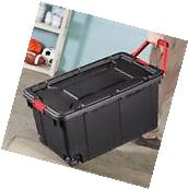 Set of 2 Plastic Storage Wheeled Container Tote Rugged