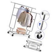 Portable Heavy Duty Double Rail Clothing Rolling Garment