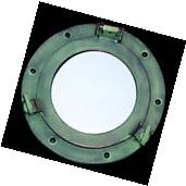 "Porthole Replica Aluminum Green Mirror Wall Mount ~ 9"" ~"