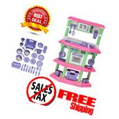 Pretend Play Kitchen Set For Kids - Cooking Food Toy - Pink Playset Girls