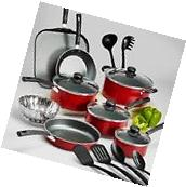 Tramontina PrimaWare 18-Piece Nonstick Cookware Set Red