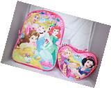 Disney Princess Girls Pink School Backpack Heart Lunch Box