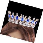 Prom King Queen Gold Diamante Sapphire Crystal Tears Tiara