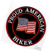 PROUD AMERICAN BIKER embroidered iron-on PATCH USA FLAG
