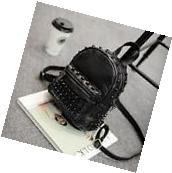 Women PU Leather Rivet Satchel Mini Travel Backpack Shoulder