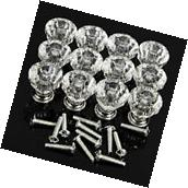20Pcs 30mm Pull Handle Diamond Shape Crystal Glass Cabinet