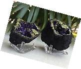 Purple Geode Pair W/Stand Crystal Geode Quartz Gemstone