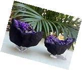 Purple Geode Pair W/Stands Crystal Geode Quartz Gemstone