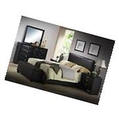 Queen Size Bed Black Faux Leather Headboard Platform