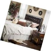 Queen/Full Size Headboard In Brown Leather w/ Button Tufted