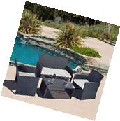 4 PC Rattan Patio Furniture Set Garden Lawn Sofa Black