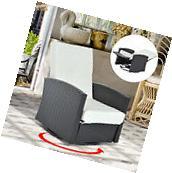 Rattan 360° Swivel Chair Rocker Reclining Backrest Patio
