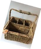 Tommy Bahama Rattan Weave Wood Outdoor Caddy 14x14 Utensil