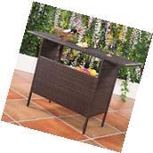 Outdoor Rattan Wicker Bar Counter Table Shelves Garden Patio