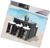 7pc Rattan Wicker Bar Set Patio Furniture Bistro Dining