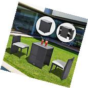 Outsunny 3Pc Rattan Wicker Dining Set Patio Furniture Bistro