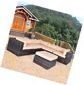 6 PCS Outdoor Rattan Wicker Furniture Set Sectional Sofa Ottoman Cushioned Patio