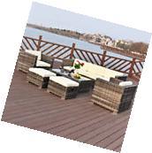 4PC Outdoor Rattan Wicker Patio Furniture Set Cushioned Sofa