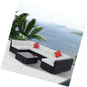 Outsunny 7PC Outdoor Patio Furniture Rattan Wicker Sofa Set