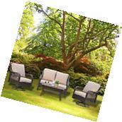 4PC Rattan Wicker Sofa Rocker Chair Swivel Patio Garden