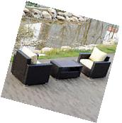 3PCS Rattan Wicker outdoor Sofa with Coffee Table Patio