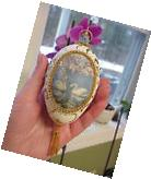 REAL Hand Carved Decorated Goose Egg Collectible Ornament