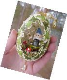 REAL Hand Decorated Goose Egg Collectible Ornament Garden