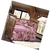 HiEnd Accents Realtree Oak Camo Crib Set, Pink