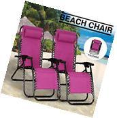 Reclining 2PCS Folding Zero Gravity Beach Chairs Lounge