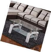 Rectangular Glass Coffee Table Living Room Furniture Shelf