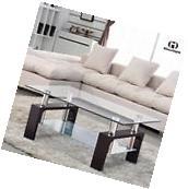 Rectangular Glass Coffee Table Shelf Chrome Black Wood