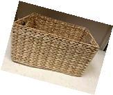 Rectangular Woven Seagrass Storage Organizer Toys Magazine