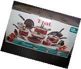 Red Black 18 PCs T-fal Nonstick Cookware Set Pots and Pans