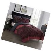 Red and Black Paisley Full-Queen Comforter Set 7pc Flocked