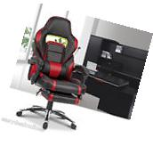 Red Leather High Back Office Chair Executive Task Computer
