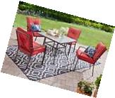 5 Piece Red Outdoor Patio Furniture Dining Set Stacking