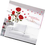 Home Decor Red Rose Wall Decal Mural Removable Flowers Wall
