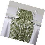 "Reseda Green Raised Roses 12x108"" LACE TABLE RUNNER Wedding"