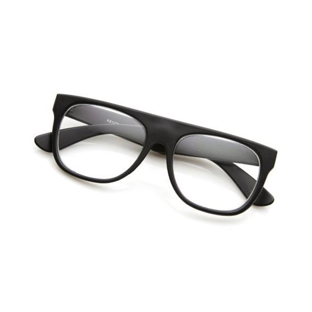 Retro Eyewear Super Flat Top Horn Rimmed Style Clear Lens